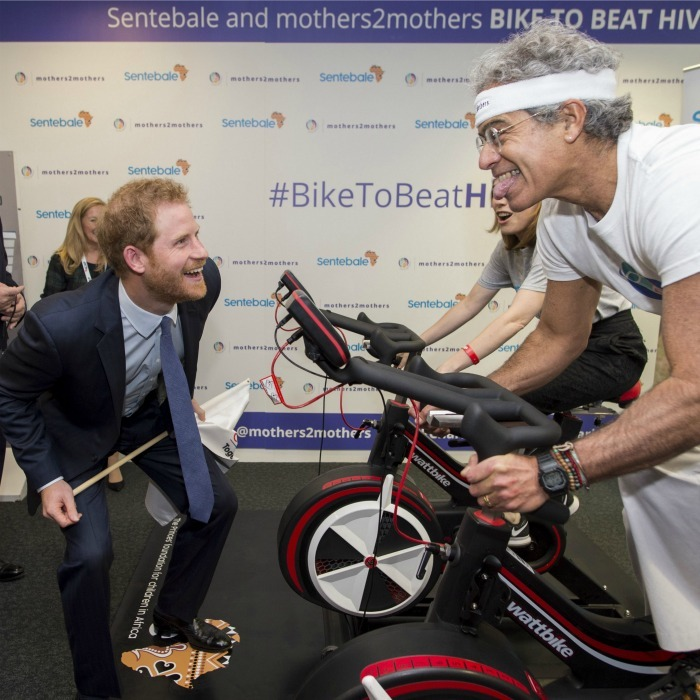 Harry cheered, and poked fun at, a gentleman as he completed the #BikeToBeatHIV event during the ICAP Charity Day.