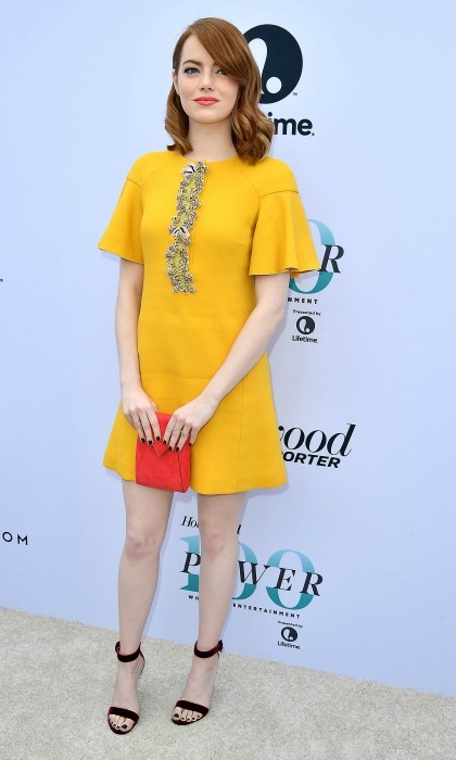 Emma Stone wore a yellow shift dress by Giambattista Valli paired with Gianvito Rossi sandals and a Tyler Ellis clutch during the Hollywood Reporter's 25th annual Women in Entertainment Breakfast in L.A. 