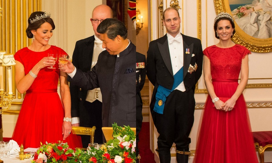 Back at it again with the red! Kate made her first appearance in the Jenny Packham gown that features cap sleeves and a sweeping train and embellished details during her first ever state banquet in October 2015. 