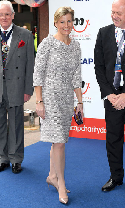 Sophie, Countess of Wessex, looked elegant in a three-quarter sleeve dress for ICAP's 24th annual charity trading day in London. 