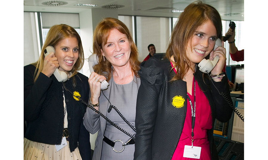 Beatrice, Sarah and Eugenie answered phones together during BGC Partners' 2011 Charity Day in London.