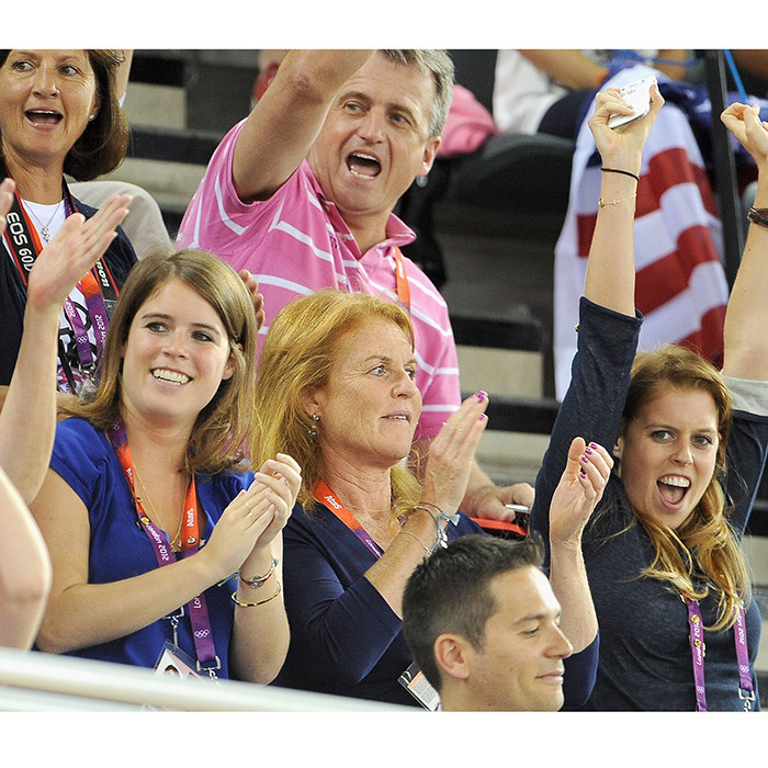 The British royals cheered as they watched a track cycling match at the London 2012 Olympic Games.