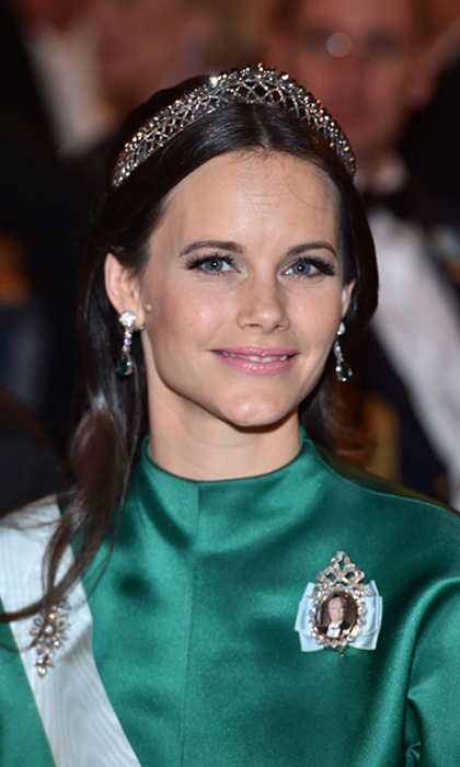 Princess Sofia, wife of Prince Carl Philip, wore the royals' smaller steel-cut tiara at the 2016 Nobel Prize Banquet in Stockholm.