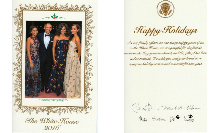 Season's greetings from the Obamas. The first family sent out their final White House holiday card featuring a photo of themselves that was taken back in March at a state dinner honoring Canada's Prime Minister Justin Trudeau.
