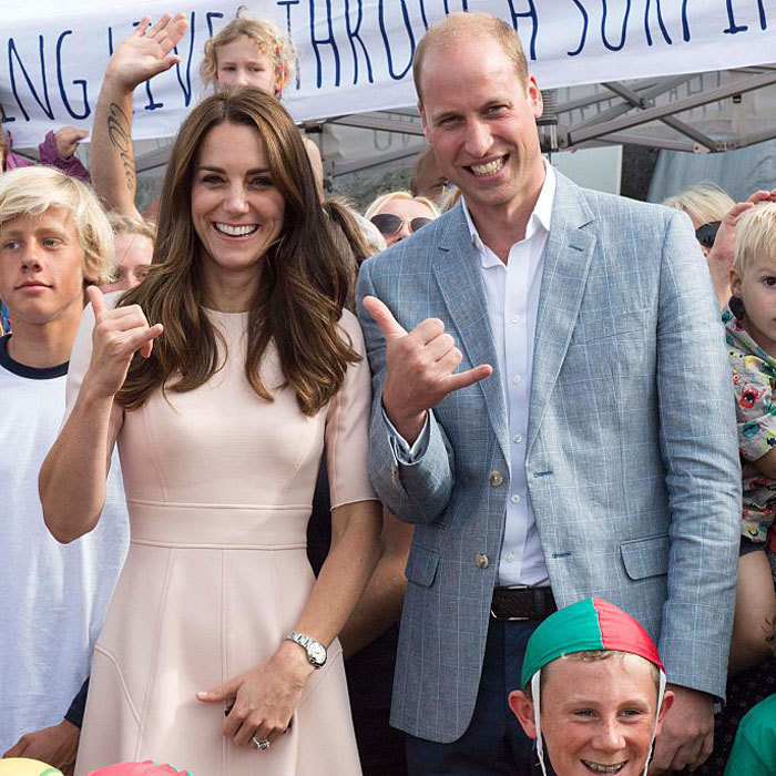 Ready to hang ten! The Duke and Duchess joined surfers of the Wave Project at Newquay's Towan Beach.