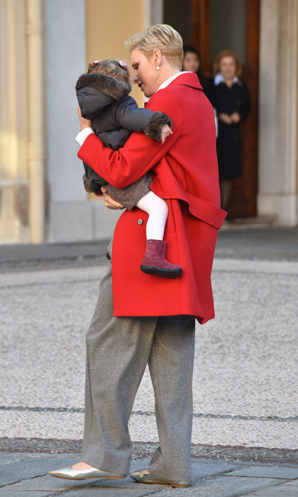 Doting mom Princess Charlene comforted her crying daughter after her encounter with the white bunny and Santa.