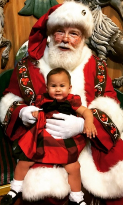 "There was a little bit of panic when Chrissy Teigen took her and John Legend's daughter Luna to see Santa. The hilarious mom captioned the moment, ""'She did such a good job!' 'She didn't even cry!' We only share what we want you to see, my loves. Lol."" 