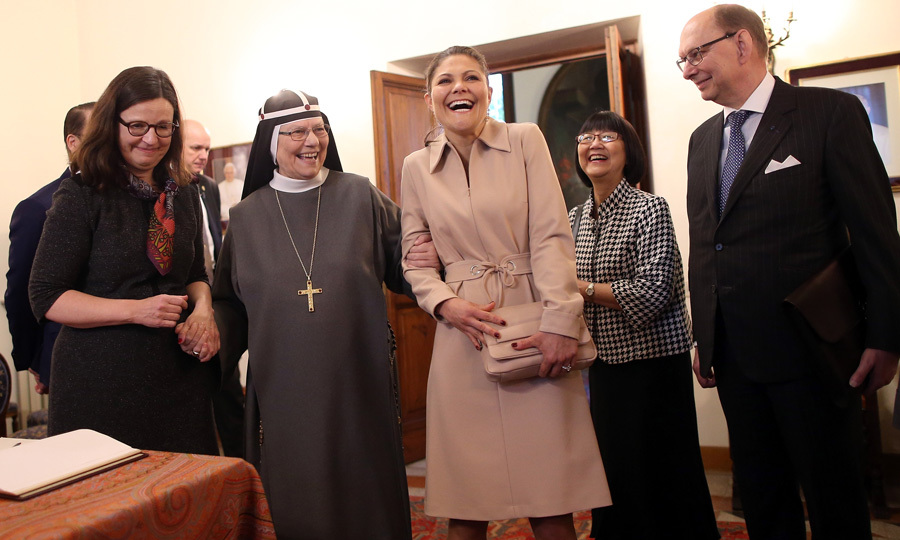 Crown Princess Victoria of Sweden let out a laugh while visiting the Birgitta Sisters at the convent Church of Santa Brigida in Rome during her three-day state visit to Italy with husband Prince Daniel.