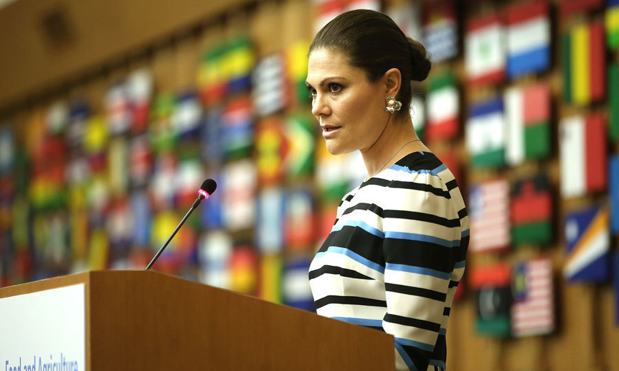 The Crown Princess of Sweden delivered a speech at the Food and Agriculture Organization Headquarters in Rome.
