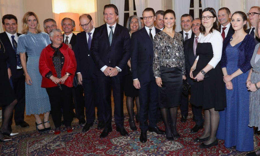 Victoria and Daniel posed for a group shot with the Minister for Upper Secondary School and Adult Education and Training Anna Ekström at the party in Milan. 