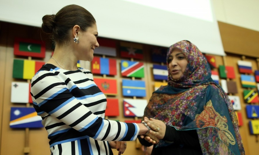 Princess Victoria and Nobel Peace Prize Laureate Tawakkul Karman share a moment at the Food and Agriculture Organization Headquarters in Rome during the seminar 'Step it up together with rural women to end hunger and poverty' in Rome, Italy. 