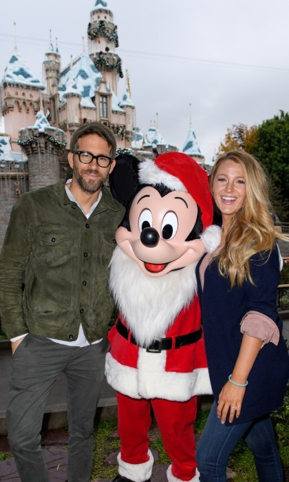 Ryan Reynolds and Blake Lively met Mickey Mouse at Sleeping Beauty's Winter Castle at Disneyland park.