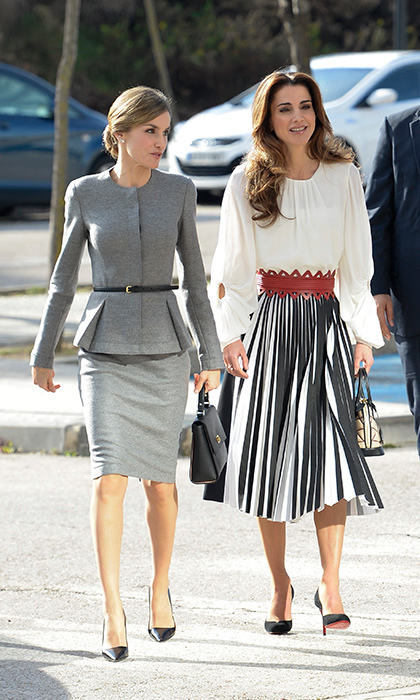 In November 2015, Queen Rania of Jordan – with a suit-clad Queen Letizia – rocked an eye-catching Proenza Schouler skirt for a visit to the Molecular Biology Center at the Universidad Autonoma in Madrid. 
