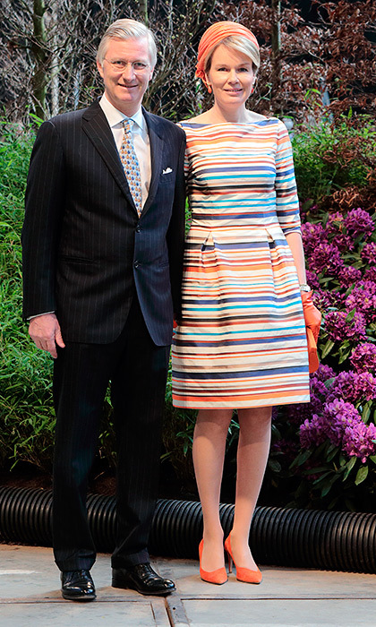 Alongside her husband King Philippe, Queen Mathilde of Belgium sported a colorful Natan dress in Ghent in April 2016.