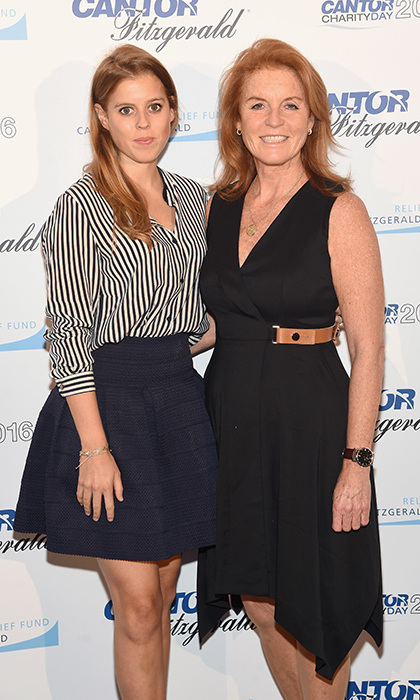 Princess Beatrice of York looked chic in an A-line skirt and striped blouse with her mother Sarah, Duchess of York at the Annual Charity Day at New York City's Cantor Fitzgerald in September 2016.