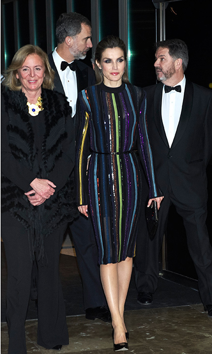 Queen Letizia of Spain attended an awards dinner in Madrid wearing a glittering Nina Ricci striped midi in December 2016.