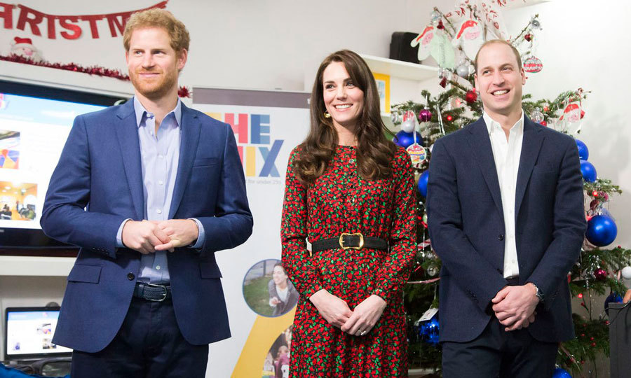 The royal trio looked cheery at the holiday event hosted by youth support service The Mix, which provides online and phone based support to 2 million young people every year.