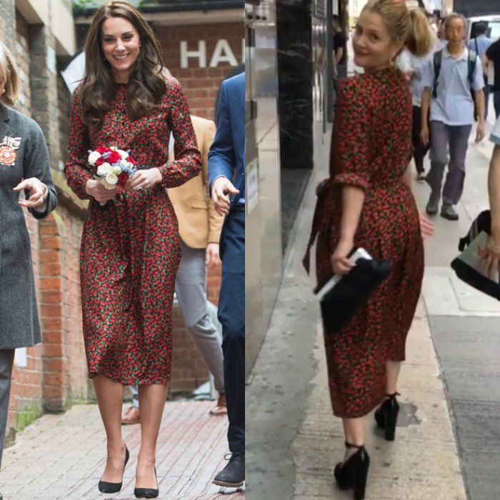 Kate Middleton got festive stepping out in a frock previously worn by actress Drew Barrymore. The stylish royal attended the 2016 Heads Together Christmas party wearing the Cai Floral-Print Jacquard Dress by Vanessa Seward, which she paired with a Mulberry clutch and black suede Gianvito Rossi pumps. 