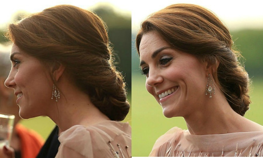 The Duchess of Cambridge was the epitome of elegance at a 2016 fundraiser for East Anglia's Children's Hospices wearing her enviable locks into an intricate updo to show off the neckline of her pearlescent rose sequin Jenny Packham gown.