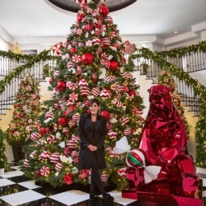 Krist-mas time! Kris Jenner went all out with her candy cane-themed Christmas display inside of her home. 