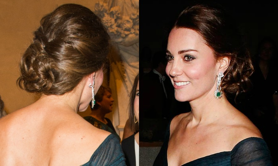 The brunette beauty stunned at the St. Andrews 600th anniversary dinner in New York City wearing her tresses in curls that were loosely pinned into a twisted bun.