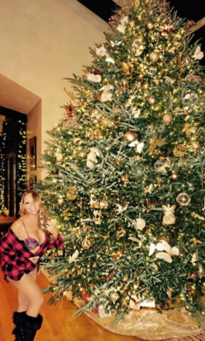 Mariah Carey showed off her holiday spirit next to her gigantic tree in her lavish $22 million luxury estate in Aspen, thanks to Airbnb. The <i>All I Want for Christmas is You</i> singer is spending the holiday with her closest friends and family, including her twins Monroe and Moroccan and boyfriend Bryan Tanaka. 