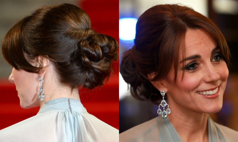 The Duchess of Cambridge exuded Hollywood glamour at the <i>Spectre</i> premiere in London sweeping her glossy locks up in a sophisticated chignon, while wearing her bangs with a middle parting.