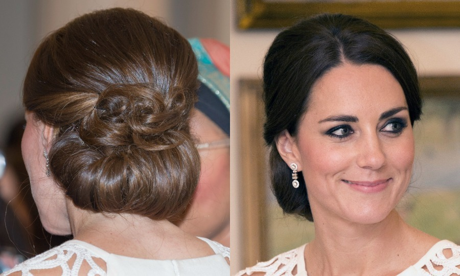 Prince George's mom wore her brunette tresses curled into loose waves and pinned back for a glamorous finish at a reception hosted by the Governor General during her 2014 tour of Australia and New Zealand.