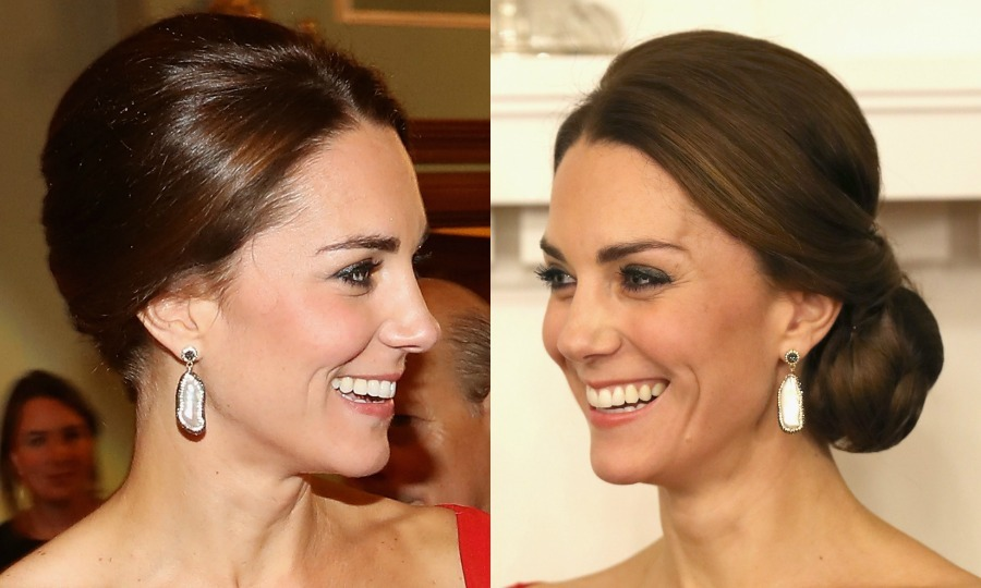 The Duke of Cambridge's wife styled her hair into an elegant side bun for a reception at Government House in Victoria, Canada during her 2016 royal tour of the North American country.