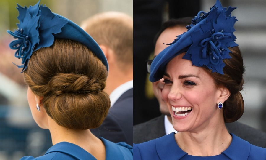 Kate turned a simple bun into a statement at the official welcome ceremony for her and Prince William in Canada. The mom-of-two accessorized the hairstyle with a Sylvia Fletcher for Lock and Company hat.