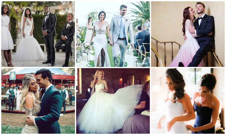 From Eva Longoria to Ciara, here's a look at the personal Instagram photos of celebrity brides who wed in 2016 – and of course their gorgeous gowns!