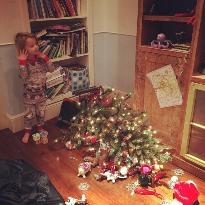 "Jessica Simpson's son Ace channeled his inner Grinch! Jessica posted the funny photo to Instagram with the caption: ""Ace just watched How The Grinch Stole Christmas. He then proceeded to walk up to his tree and yelled 'I hate Christmas' and tossed it. #aceknute #merrychristmas.""