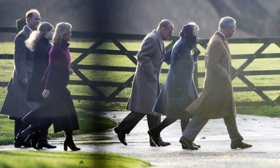 From left to right: the Earl of Wessex, Lady Louise Windsor, the Countess of Wessex, the Prince of Wales, the Duchess of Cornwall and the Duke of Edinburgh arrived to attend the Christmas day service at St Mary Magdalene Church on the Sandringham estate in Norfolk.