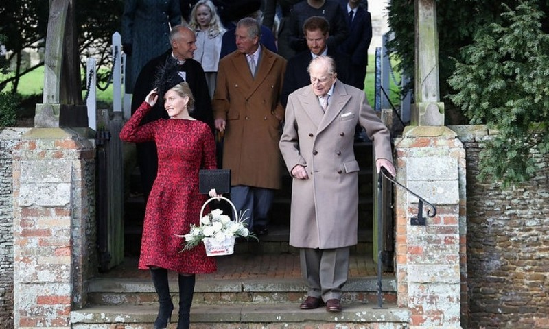 Prince Philip continued with tradition and attended the service with Sophie Wessex and family.
