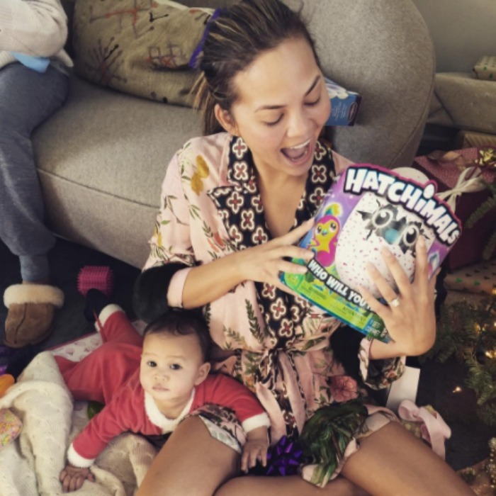 It looks like Luna, or maybe Chrissy Teigen, got the hottest toy on the market for Christmas, a Hatchimal.