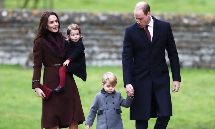 George and Charlotte coordinated with their parents Prince William and Kate Middleton during Christmas Day service at St. Marks church Bucklebury, Berkshire in December 2016.