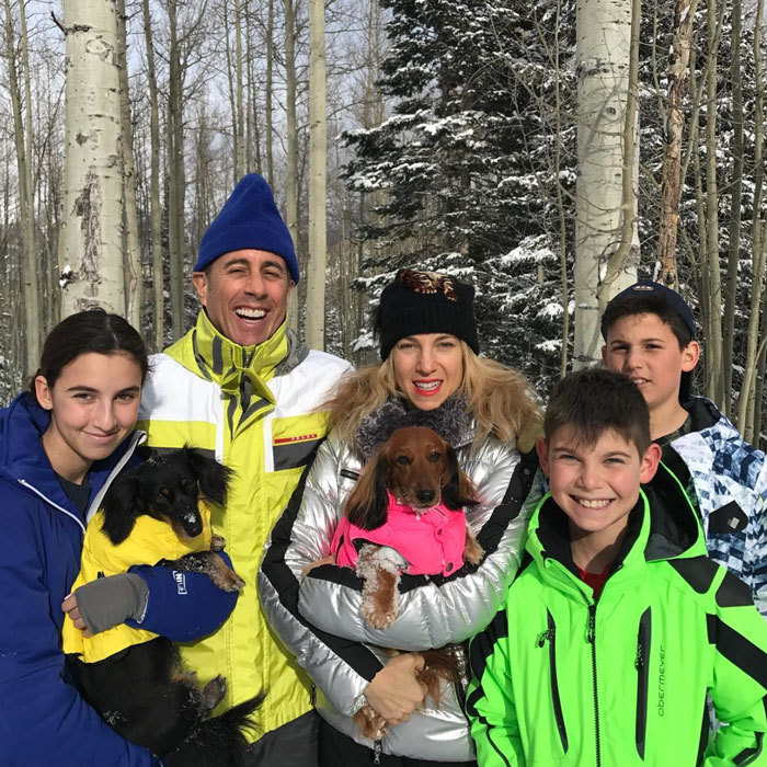 """Jerry and Jessica Seinfeld enjoyed a winter getaway with their three children (Sascha, Shepherd and Julian). The Seinfeld's star's wife posted a rare picture on Instagram of her kids in their snow gear writing, """"And for one half of a second, they stopped fighting. I am about to lose it. This is our holiday card because I didn't do one. Happy holidays. If we make it to 2017 it will be a miracle."""" Photo: Instagram/@jessseinfeld"""