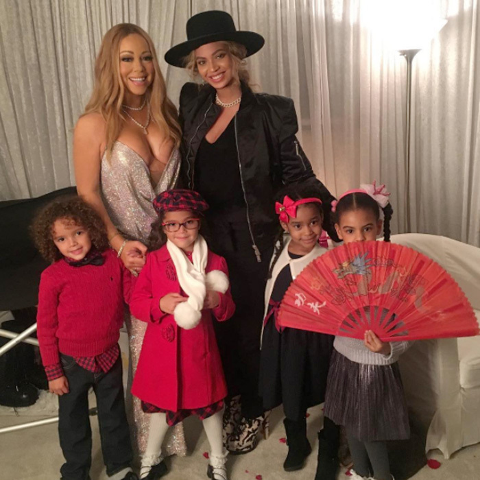 "Talk about an A-list playdate! Mariah Carey and Beyoncé's kids came together at New York's Beacon Theatre before Mariah's holiday concert for a""family"" photo. The All I Want For Christmas Is You singer shared a picture from backstage featuring her twins Moroccan and Monroe Cannon along with Blue Ivy Carter, posing with a fan. Attached to the image, the mom-of-two wrote, ""Backstage at Christmas time with our beautiful children. @beyonce #christmas #family #love.""