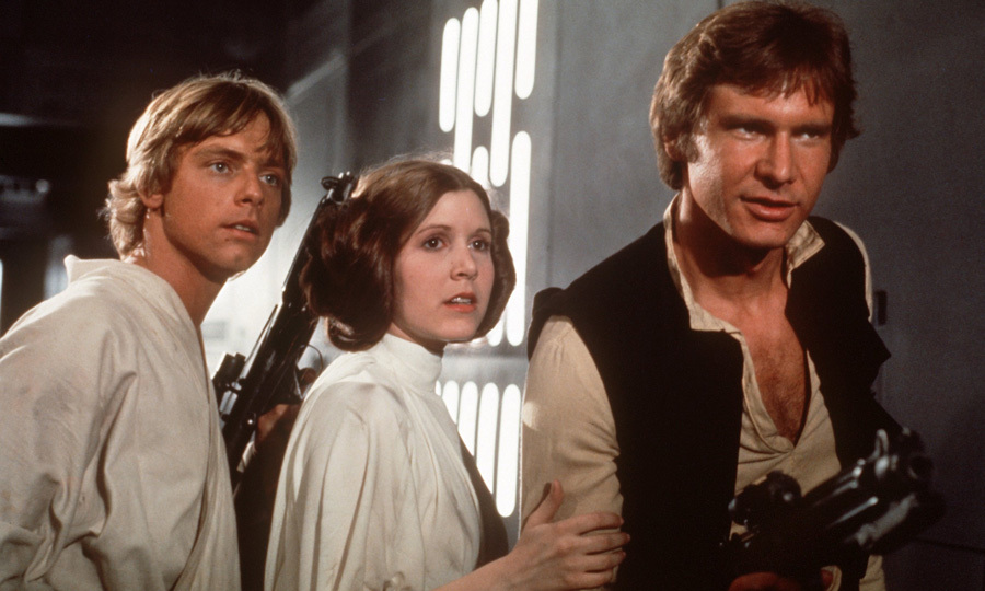 The Hollywood star's big break came in 1977 when Carrie (pictured with co-stars Mark Hamill, left, and Harrison Ford, right) took on her iconic role as Princess Leia in the hit sci-fi franchise, <i>Star Wars</i>.