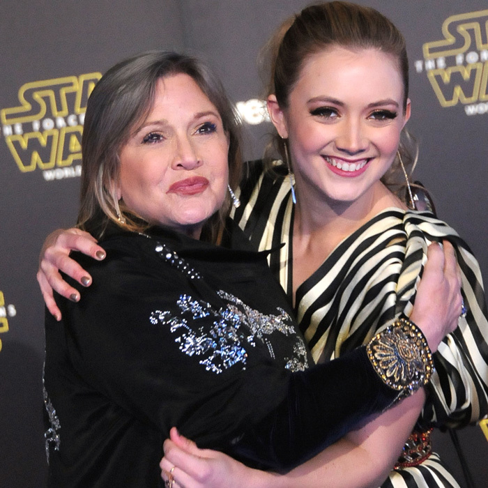 As Carrie reprised her iconic <i>Star Wars</i> role, her daughter Billie made her debut in the franchise playing the role of Lieutenant Connix (sporting mom's signature buns). The mother-daughter duo were all smiles as they posed on the red carpet for the 2015 film.