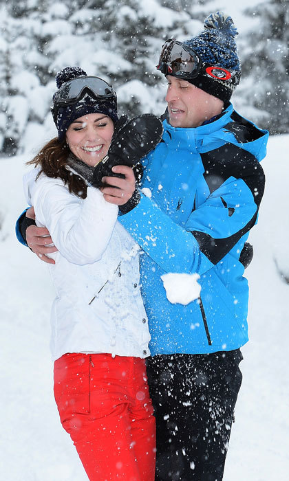 The royal parents-of-two engaged in a friendly snowball fight, while on a ski holiday in the French Alps.