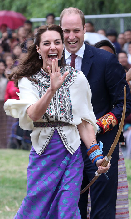 The Duke and Duchess let out a laugh as Kate took part in an archery demonstration in Thimphu, Bhutan. 
