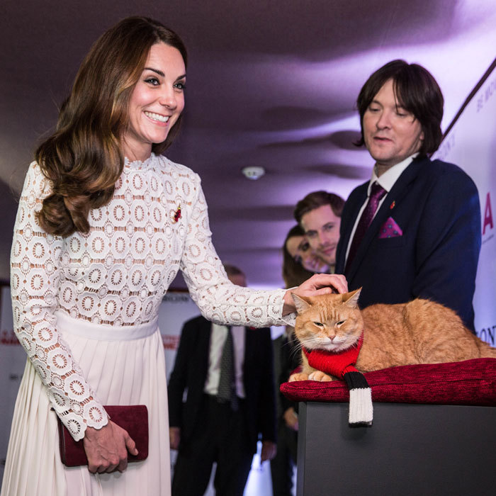 "The Duchess met the star of the film <i> A Street Cat Named Bob</i> Bob the street cat at the London premiere. ""Is that purring or growling?"" the royal asked, while stroking Bob's fur. 