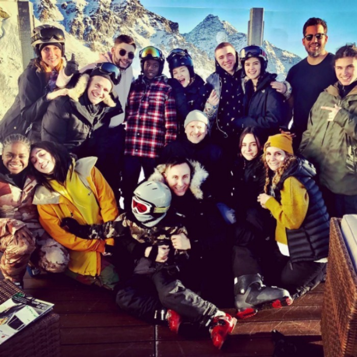 "Madonna took her squad to the mountains to hit the slopes and pose for this epic group shot featuring her children and friends. ""Swiss Family Robinson!!"" the pop icon captioned the photo.