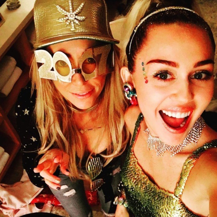 Early on in the night, Miley Cyrus, 24, took to Instagram to show off her and her mother Tish's NYE party attire. It looked like they were ready to ring in 2017!