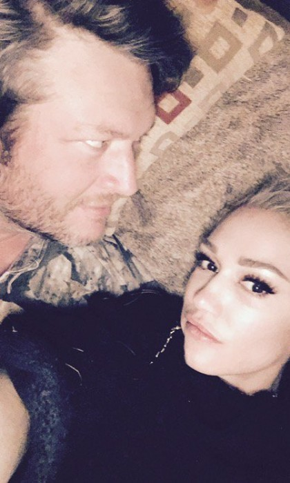 "Blake tweeted the snuggly picture, with the caption: ""Happy New Years gx."" Gwen then retweeted it.