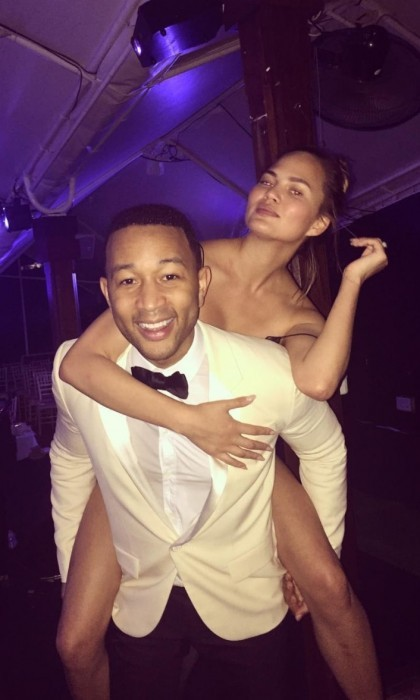 John Legend shared a cute photo of his wife Chrissy Teigen on his back. The couple celebrated New Year's Eve in the Caribbean at Nikki Beach Worldwide. The multi-award winning singer-songwriter hosted a live, intimate 50-minute set on the piano at Nikki Beach in Saint Barth.