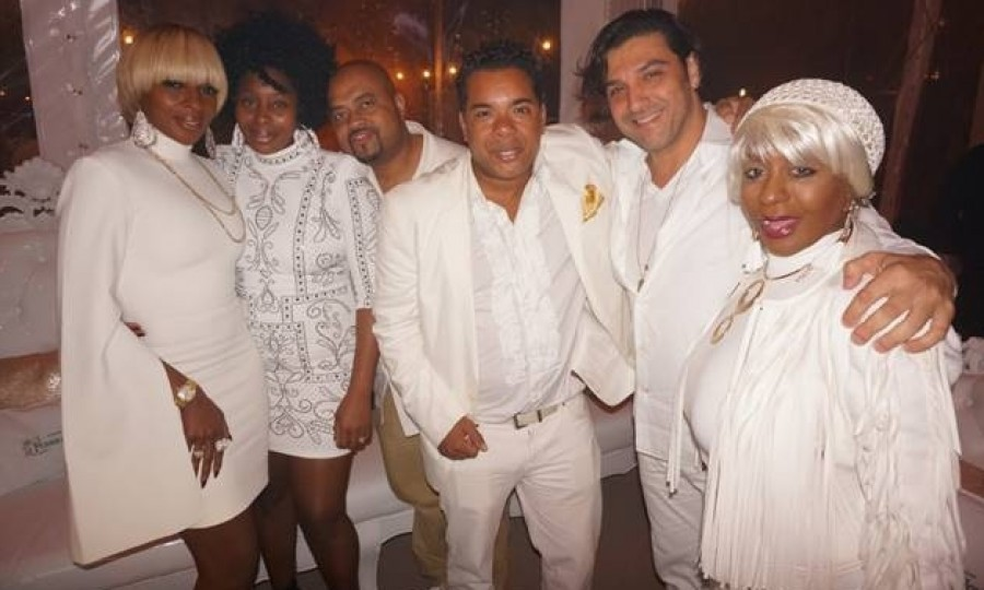 "Mary J Blige attended ""Five Star New Year's Eve"" in Miami. The annual extravaganza is all-white-and-gold-themed.