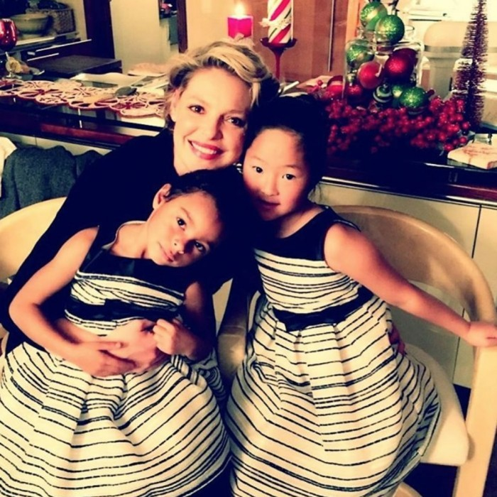 "Katherine Heigl shared a cute photo of her and her daughters celebrating. She wrote, ""Happy New Years Eve from the Kelley girls! Here's to a spectacular, joyful abundant 2017 for all!""