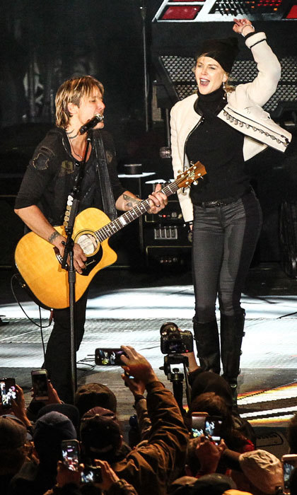 Nicole Kidman joined her husband Keith Urban on stage during Jack Daniel's Music City Midnight New Year's Eve Celebration in Nashville, Tennessee. 